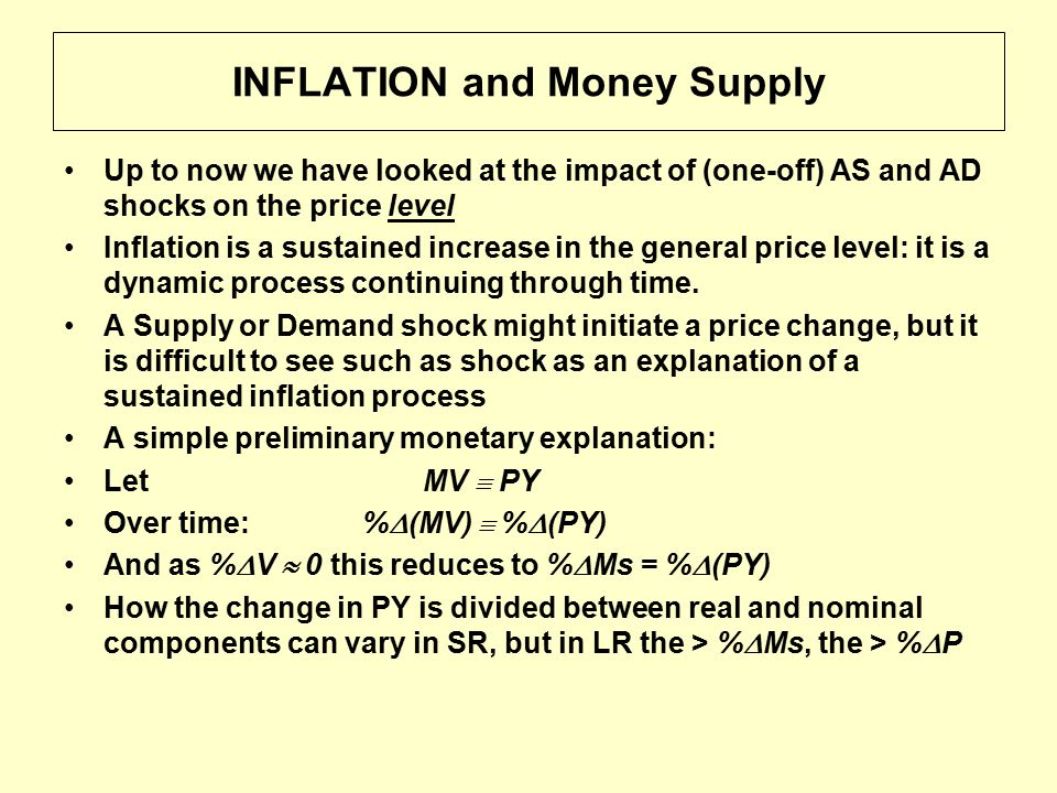 INFLATION and Money Supply Up to now we have looked at the impact of (one-off) AS and AD shocks on the price level Inflation is a sustained increase in the general price level: it is a dynamic process continuing through time.
