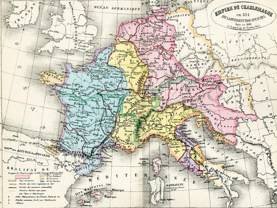 Death of Charlemagne Charlemagne's empire divided between his three sons Louis the German and Charles the Bald each take the lands that like them the most Present the least organized states to brother Lothar Creates lasting divide between Germany and France