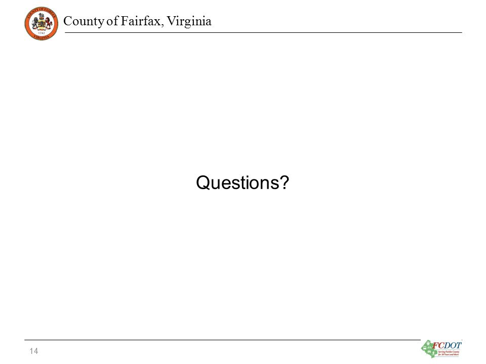 County of Fairfax, Virginia Questions 14