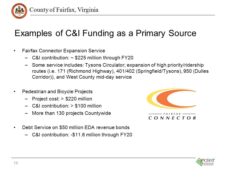 County of Fairfax, Virginia Examples of C&I Funding as a Primary Source Fairfax Connector Expansion Service –C&I contribution: ~ $225 million through FY20 –Some service includes: Tysons Circulator; expansion of high priority/ridership routes (i.e.