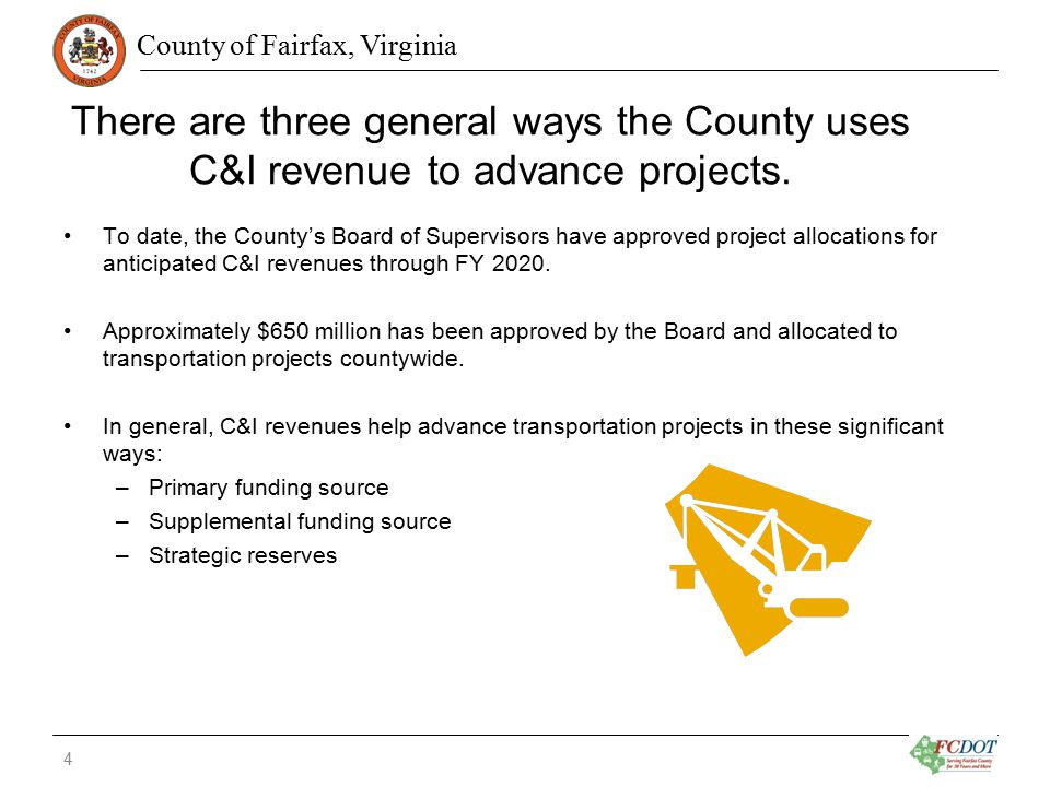 County of Fairfax, Virginia Primary Funding Source C&I revenues are used as the sole or primary funding source for a variety of transportation projects.