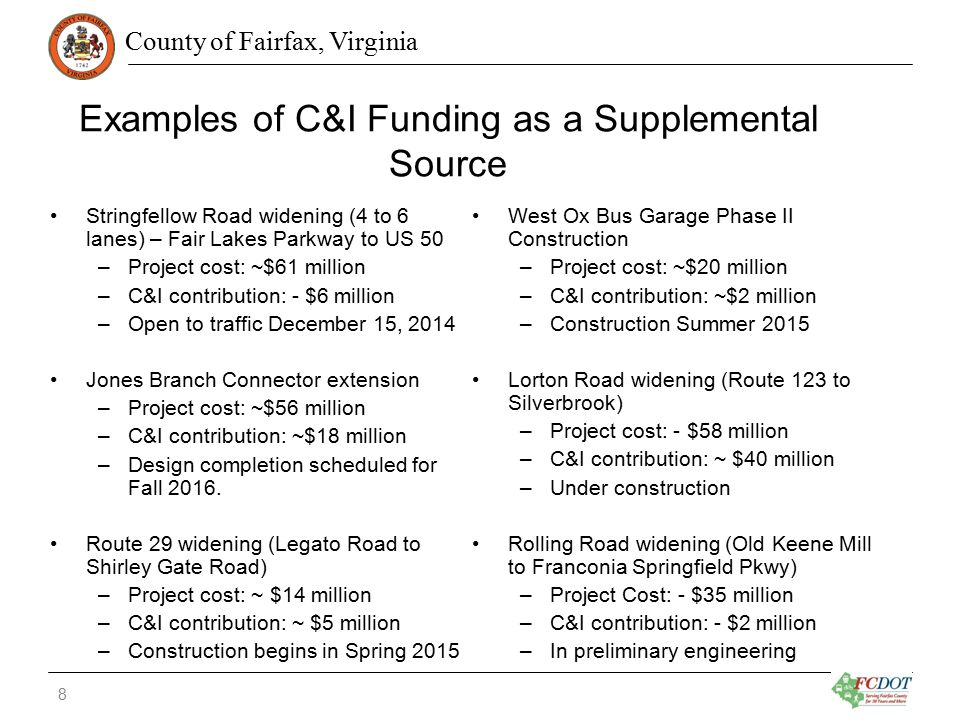 County of Fairfax, Virginia Examples of C&I Funding as a Supplemental Source Stringfellow Road widening (4 to 6 lanes) – Fair Lakes Parkway to US 50 –