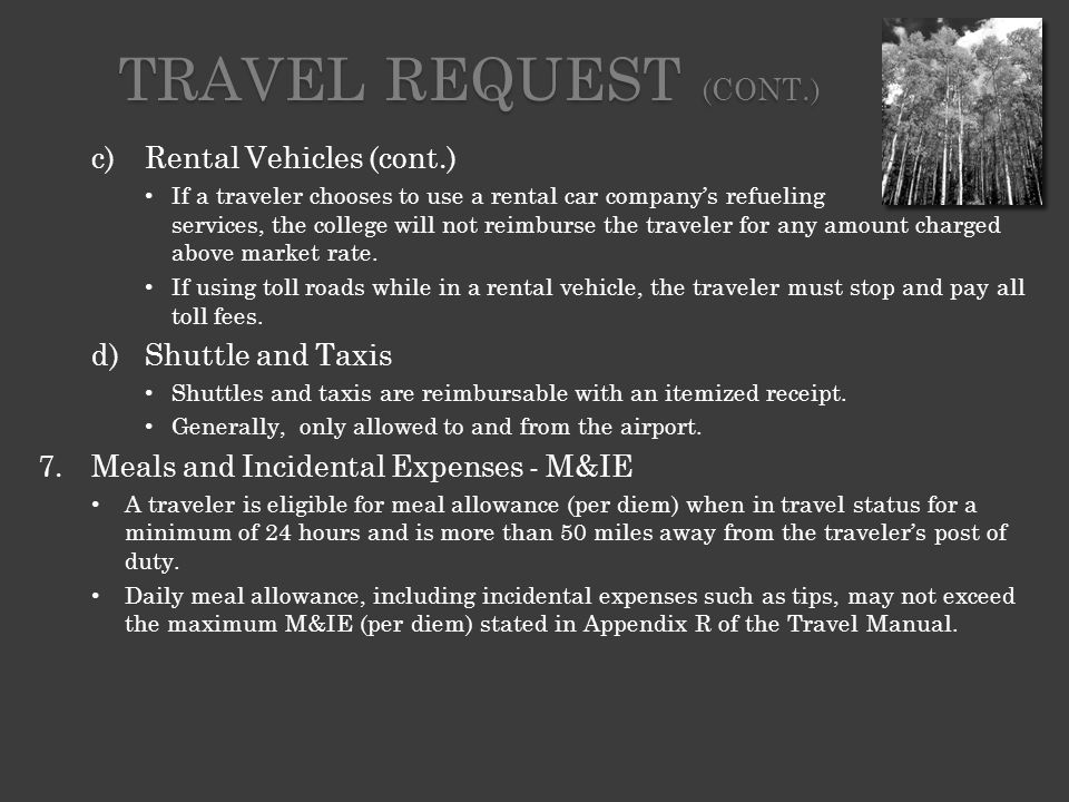 TRAVEL EXPENSE CLAIM FORMS A completed Travel Expense Claim must be submitted to the Travel Specialist within (8) business days following the traveler's return.
