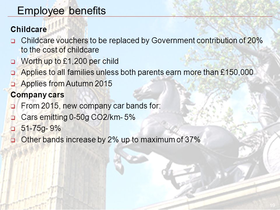 19 Employee benefits Childcare  Childcare vouchers to be replaced by Government contribution of 20% to the cost of childcare  Worth up to £1,200 per child  Applies to all families unless both parents earn more than £150,000  Applies from Autumn 2015 Company cars  From 2015, new company car bands for:  Cars emitting 0-50g CO2/km- 5%  51-75g- 9%  Other bands increase by 2% up to maximum of 37%