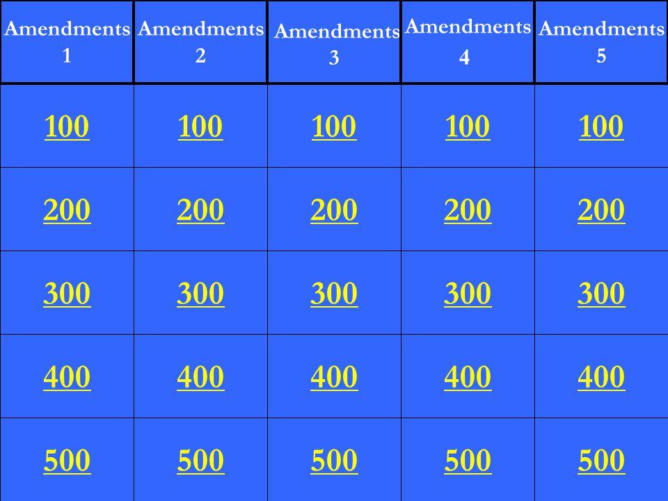 200 300 400 500 100 200 300 400 500 100 200 300 400 500 100 200 300 400 500 100 200 300 400 500 100 Amendments 1 Amendments 2 Amendments 3 Amendments 4 Amendments 5