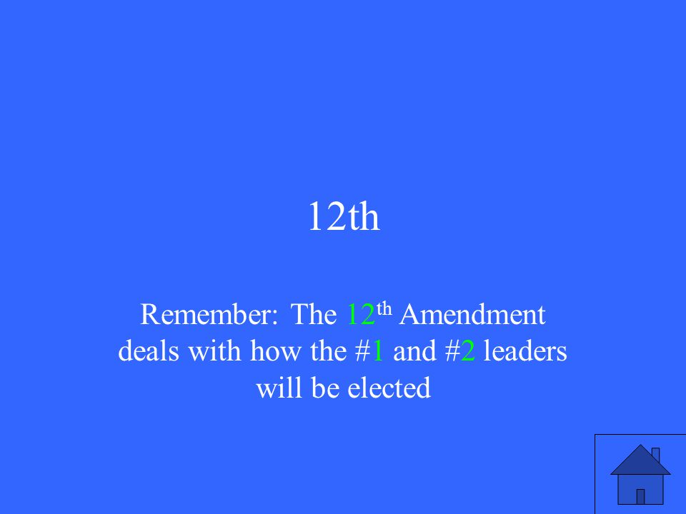 12th Remember: The 12 th Amendment deals with how the #1 and #2 leaders will be elected
