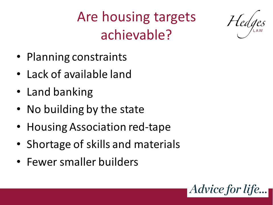 Are housing targets achievable.