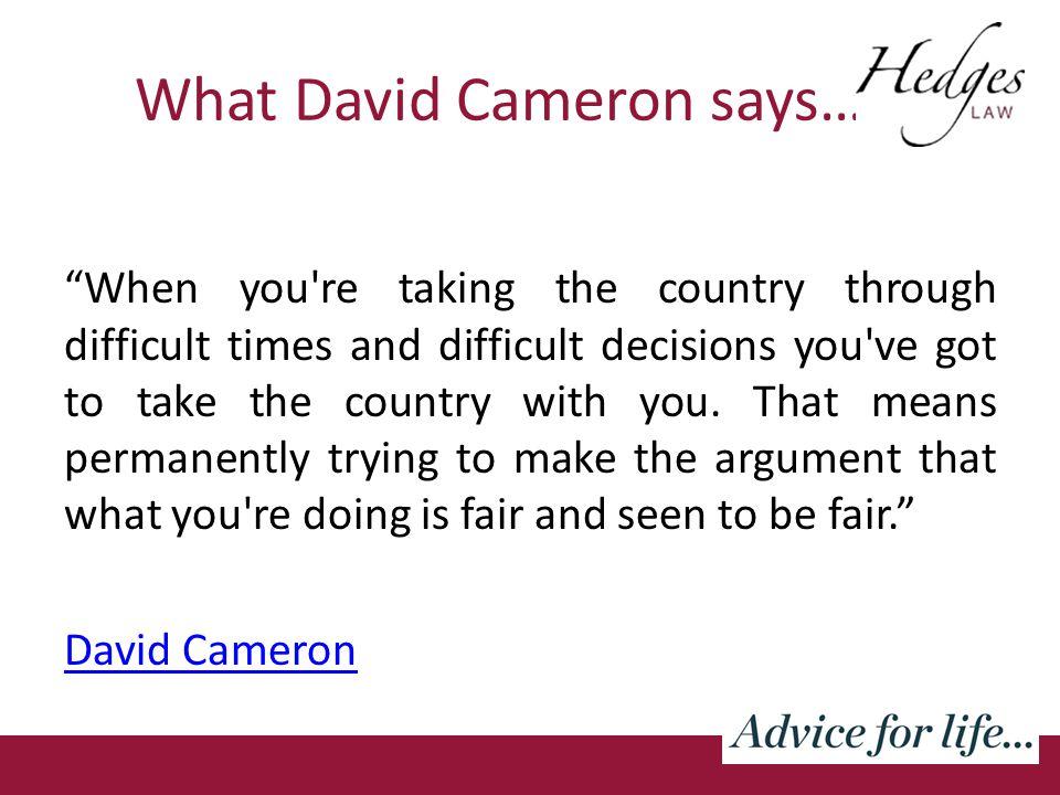 What David Cameron says…….
