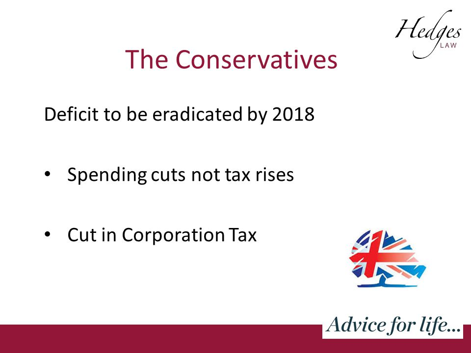 The Conservatives Deficit to be eradicated by 2018 Spending cuts not tax rises Cut in Corporation Tax