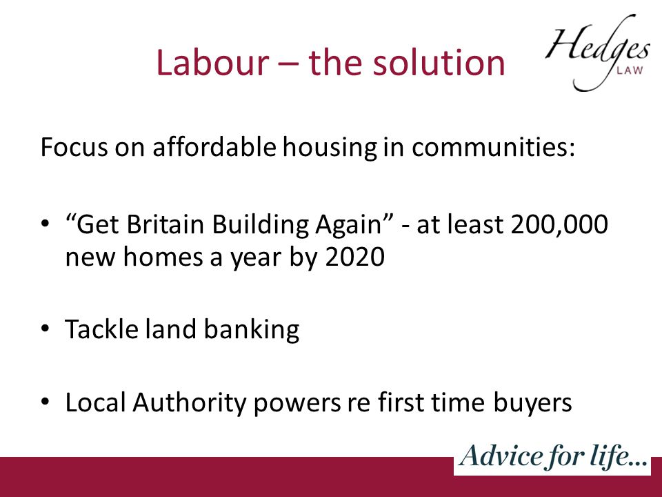 Labour – the solution Focus on affordable housing in communities: Get Britain Building Again - at least 200,000 new homes a year by 2020 Tackle land banking Local Authority powers re first time buyers