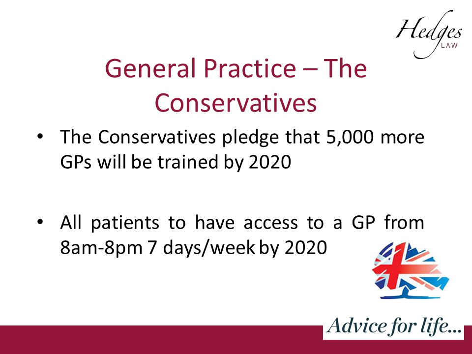 General Practice – The Conservatives The Conservatives pledge that 5,000 more GPs will be trained by 2020 All patients to have access to a GP from 8am-8pm 7 days/week by 2020