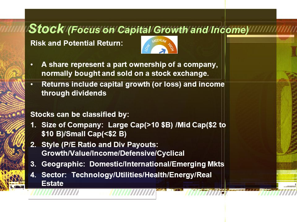 Stock (Focus on Capital Growth and Income) Risk and Potential Return: A share represent a part ownership of a company, normally bought and sold on a stock exchange.