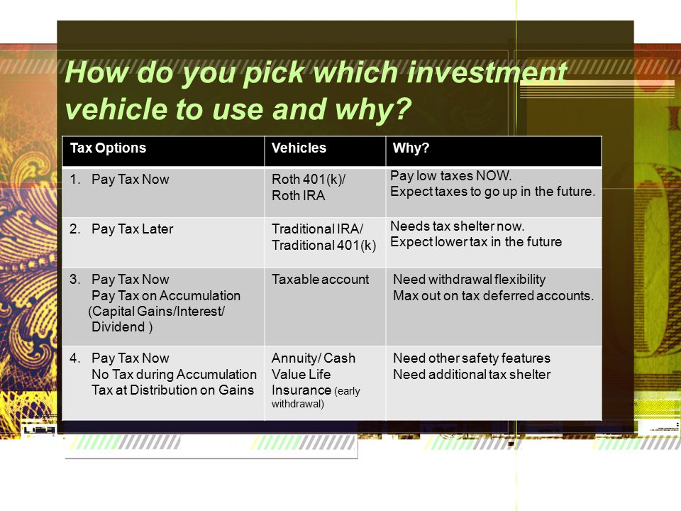 How do you pick which investment vehicle to use and why.