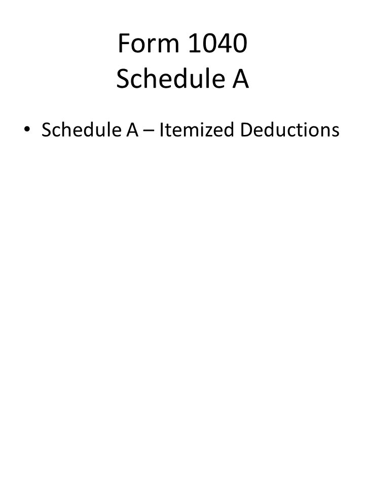 Schedule A – Itemized Deductions Form 1040 Schedule A