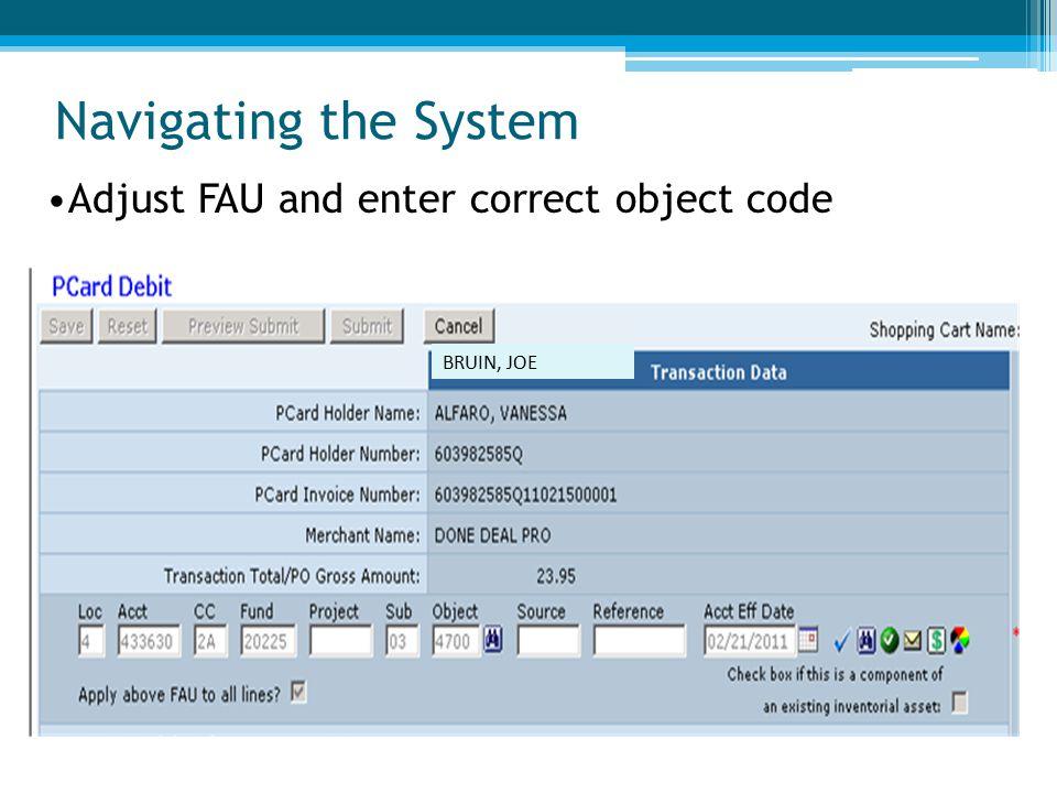Navigating the System BRUIN, JOE Adjust FAU and enter correct object code