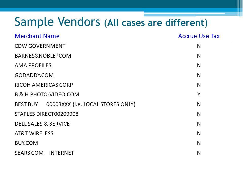 Sample Vendors (All cases are different) Merchant NameAccrue Use Tax CDW GOVERNMENTN BARNES&NOBLE*COMN AMA PROFILESN GODADDY.COMN RICOH AMERICAS CORPN B & H PHOTO-VIDEO.COMY BEST BUY 00003XXX (i.e.