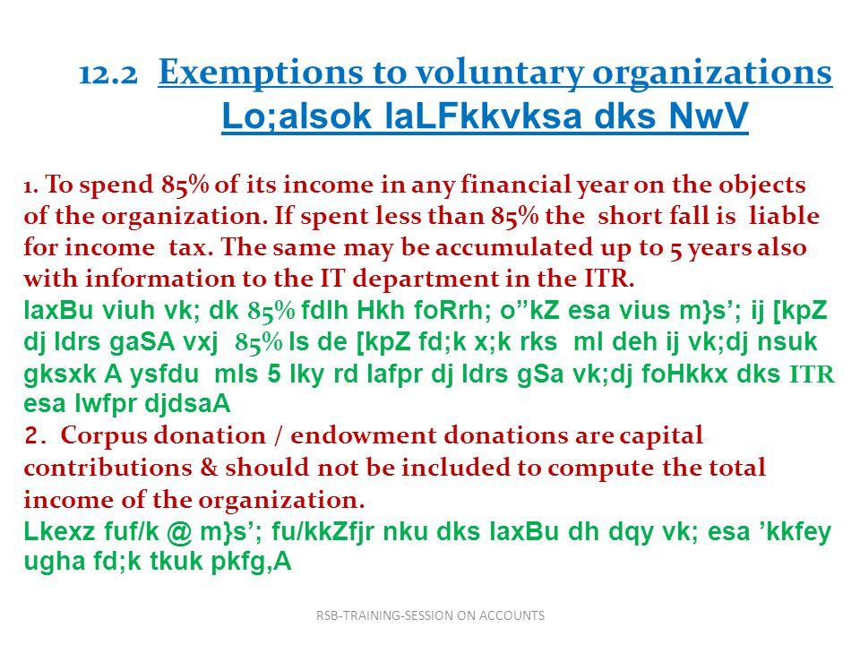 12.2 Exemptions to voluntary organizations Lo;alsok laLFkkvksa dks NwV 1.