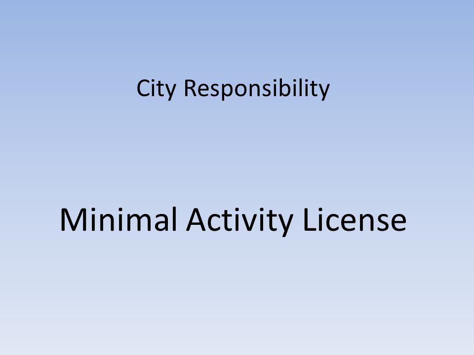 City Responsibility Minimal Activity License