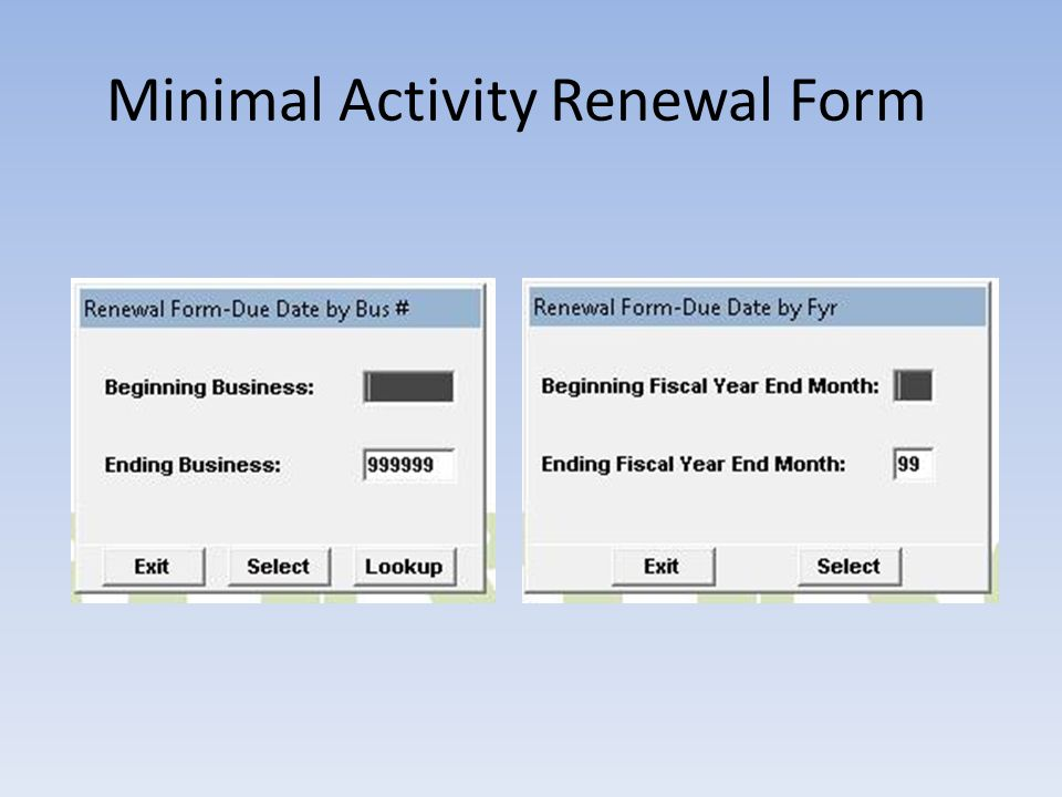 Minimal Activity Renewal Form