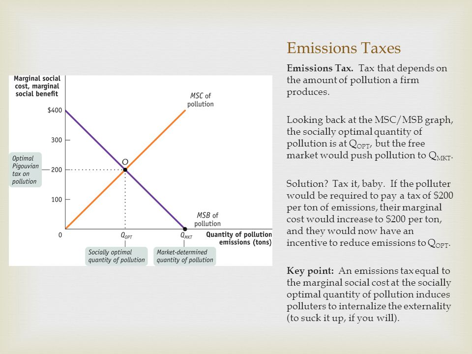Emissions Taxes Emissions Tax. Tax that depends on the amount of pollution a firm produces. Looking back at the MSC/MSB graph, the socially optimal qu