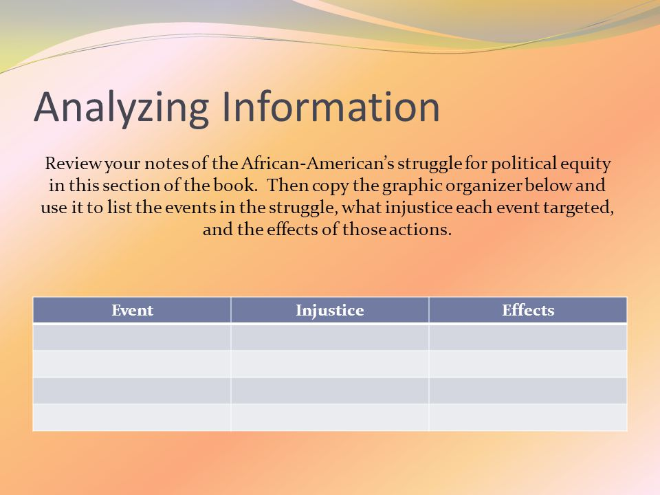Analyzing Information Review your notes of the African-American's struggle for political equity in this section of the book.