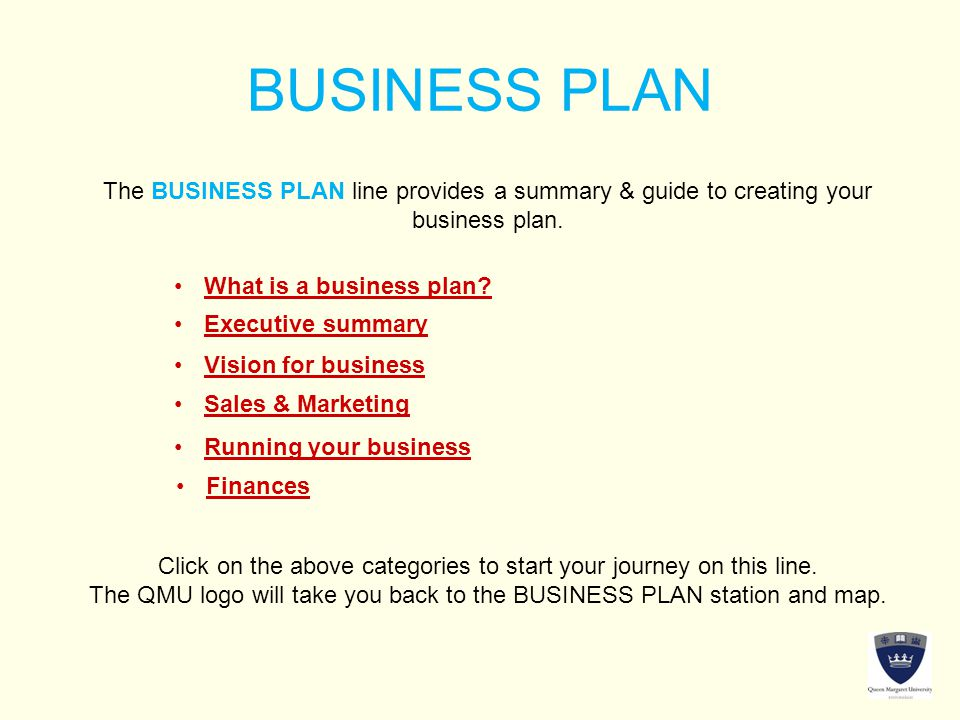 BUSINESS PLAN The BUSINESS PLAN line provides a summary & guide to creating your business plan.