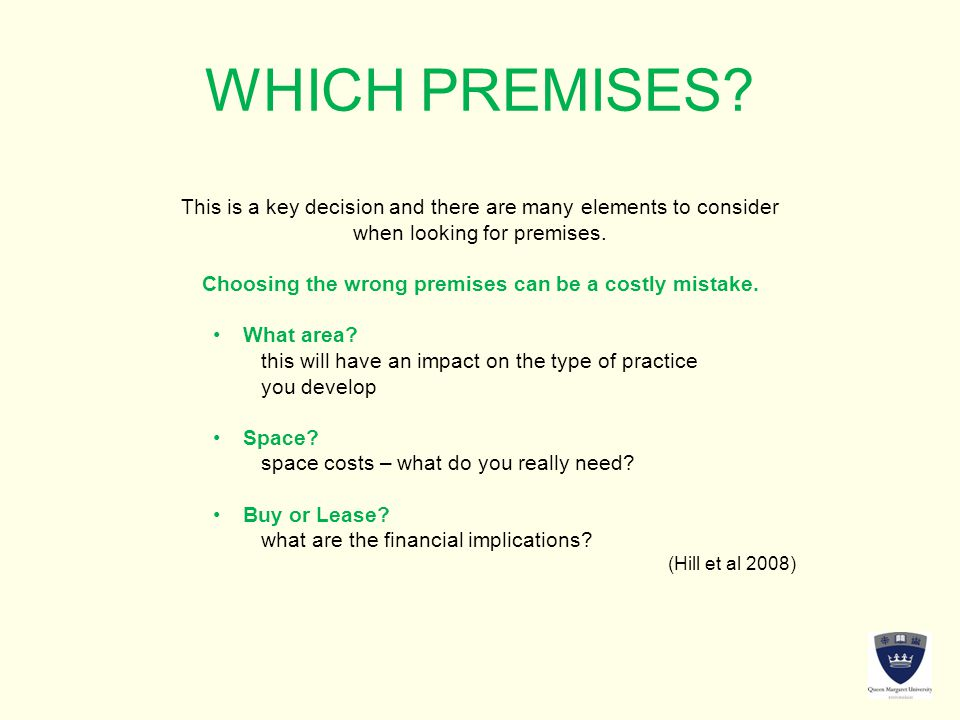 WHICH PREMISES.