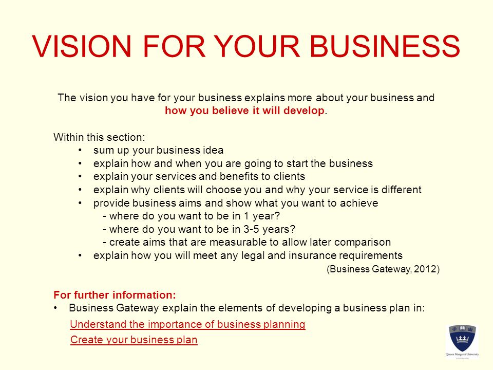 VISION FOR YOUR BUSINESS The vision you have for your business explains more about your business and how you believe it will develop.