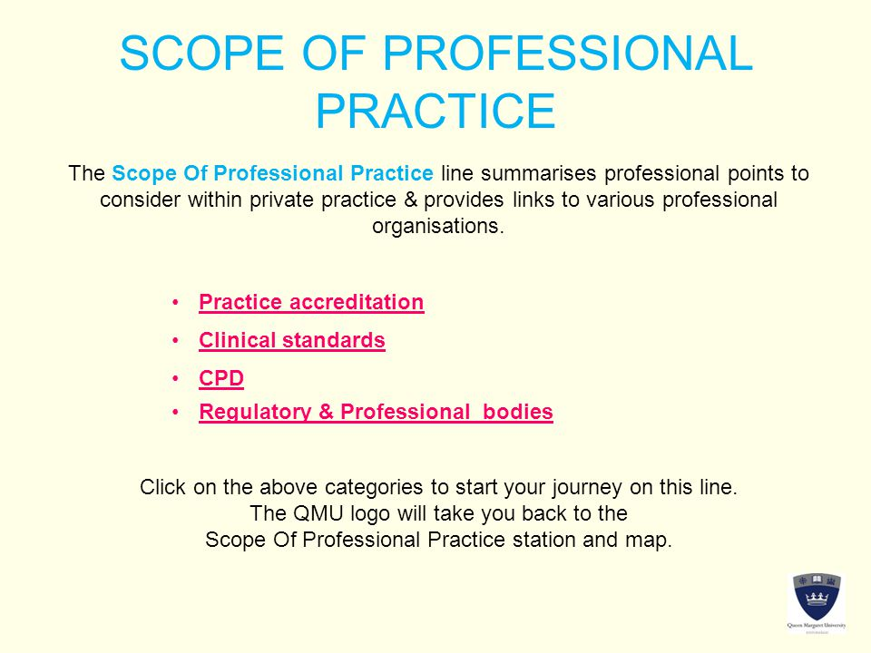 SCOPE OF PROFESSIONAL PRACTICE The Scope Of Professional Practice line summarises professional points to consider within private practice & provides links to various professional organisations.