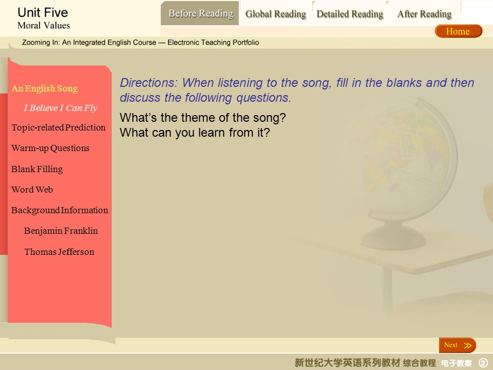 Before Reading_ An English Song An English Song Topic-related Prediction Warm-up Questions Blank Filling Word Web Background Information I Believe I Can Fly Benjamin Franklin Directions: When listening to the song, fill in the blanks and then discuss the following questions.