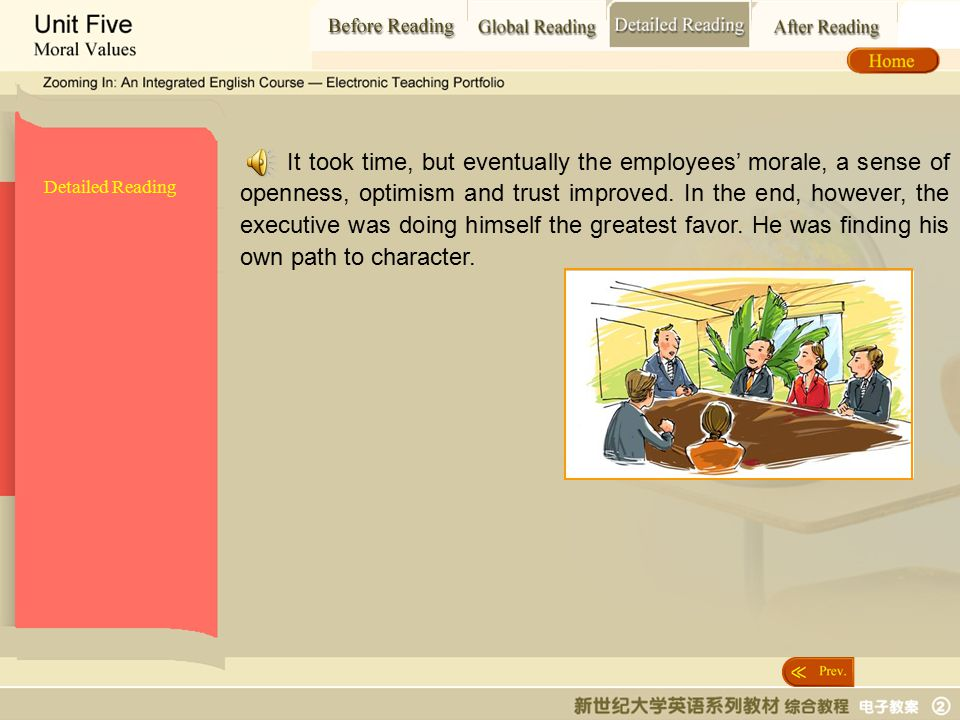 Detailed Reading_t9 Detailed Reading It took time, but eventually the employees' morale, a sense of openness, optimism and trust improved.
