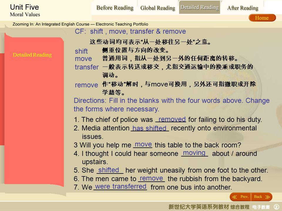 """Detailed Reading_ shift2 Detailed Reading 这些动词均可表示 """" 从一处移往另一处 """" 之意。 侧重位置与方向的改变。 普通用词,指从一处到另一外的任何距离的转移。 一般表示转送或移交,尤指交通运输中的换乘或职务的 调动。 作 """" 移动 """" 解时,与 move"""