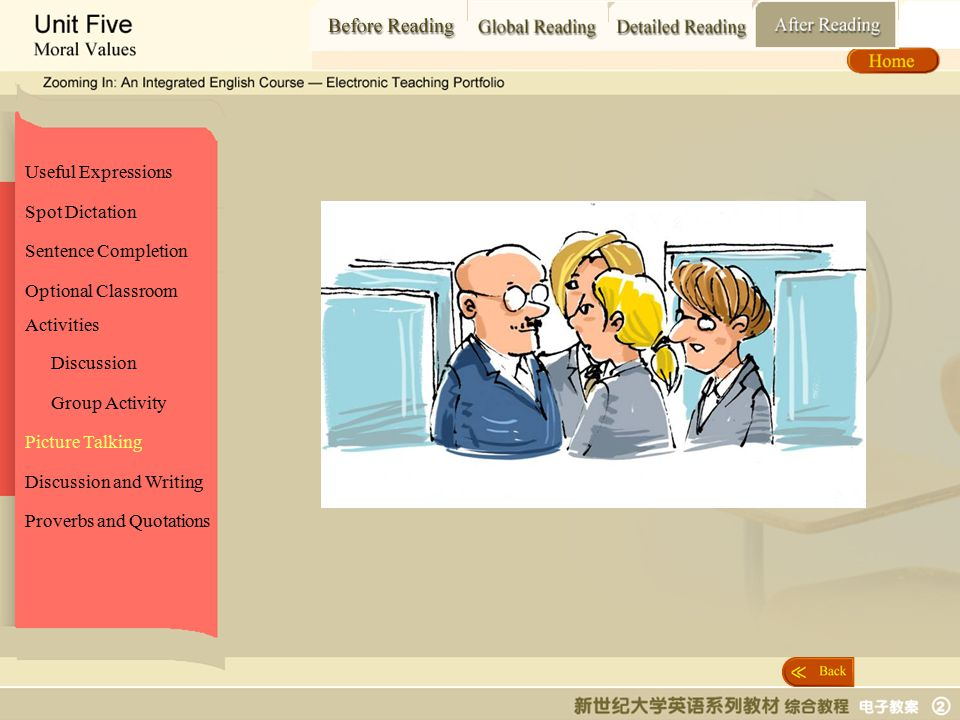 After Reading_ picture talking2 Spot Dictation Sentence Completion Picture Talking Proverbs and Quotations Optional Classroom Activities Discussion and Writing Useful Expressions Discussion Group Activity