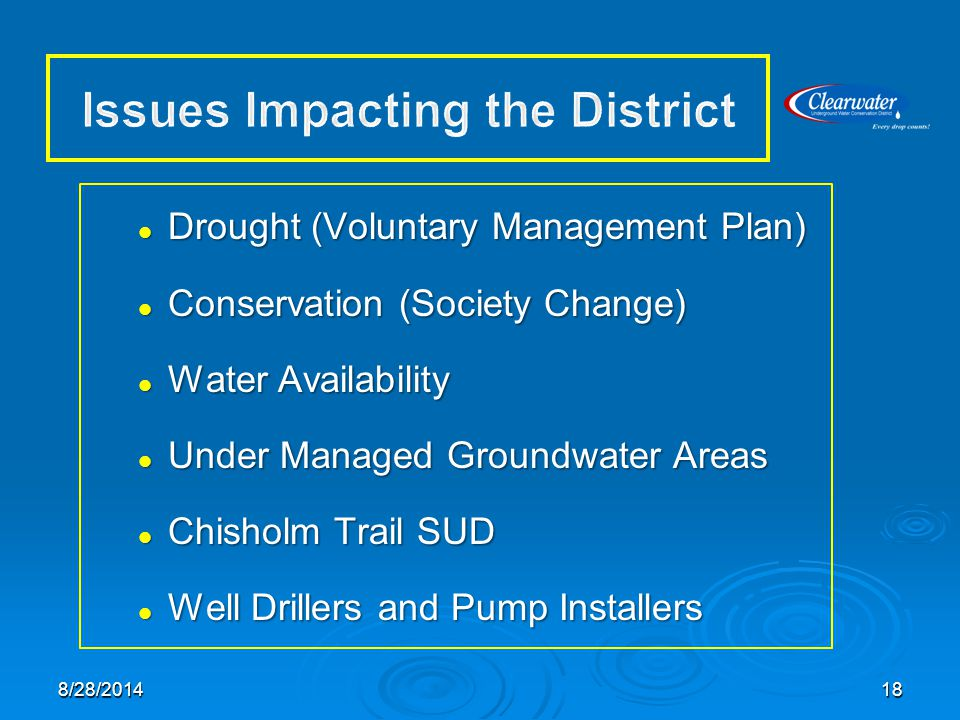 Drought (Voluntary Management Plan) Drought (Voluntary Management Plan) Conservation (Society Change) Conservation (Society Change) Water Availability Water Availability Under Managed Groundwater Areas Under Managed Groundwater Areas Chisholm Trail SUD Chisholm Trail SUD Well Drillers and Pump Installers Well Drillers and Pump Installers 188/28/2014
