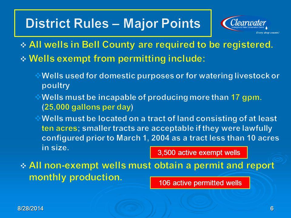 3,500 active exempt wells 106 active permitted wells 68/28/2014
