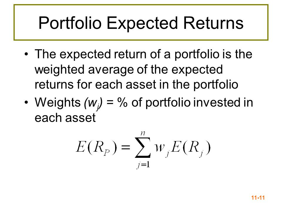 11-11 Portfolio Expected Returns The expected return of a portfolio is the weighted average of the expected returns for each asset in the portfolio We