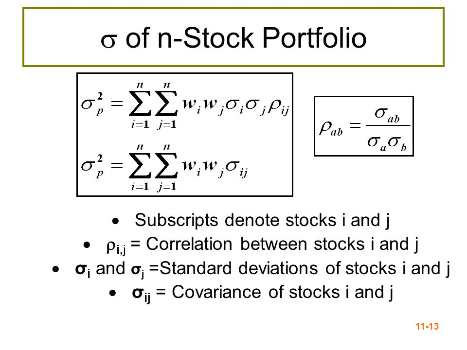 11-13  of n-Stock Portfolio  Subscripts denote stocks i and j  i,j = Correlation between stocks i and j  σ i and σ j =Standard deviations of stoc