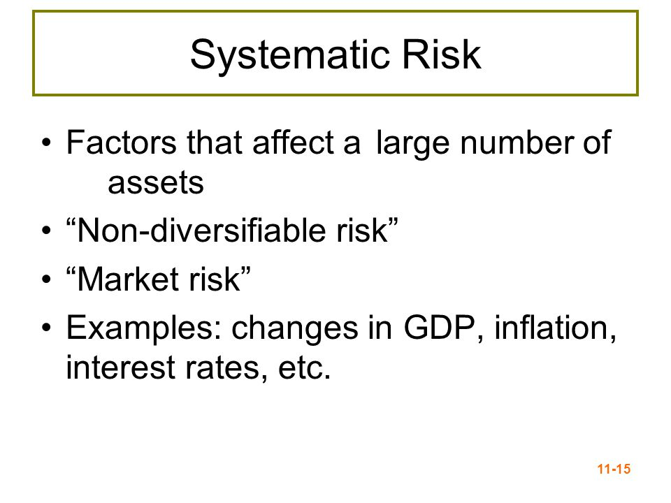 "11-15 Systematic Risk Factors that affect a large number of assets ""Non-diversifiable risk"" ""Market risk"" Examples: changes in GDP, inflation, interes"
