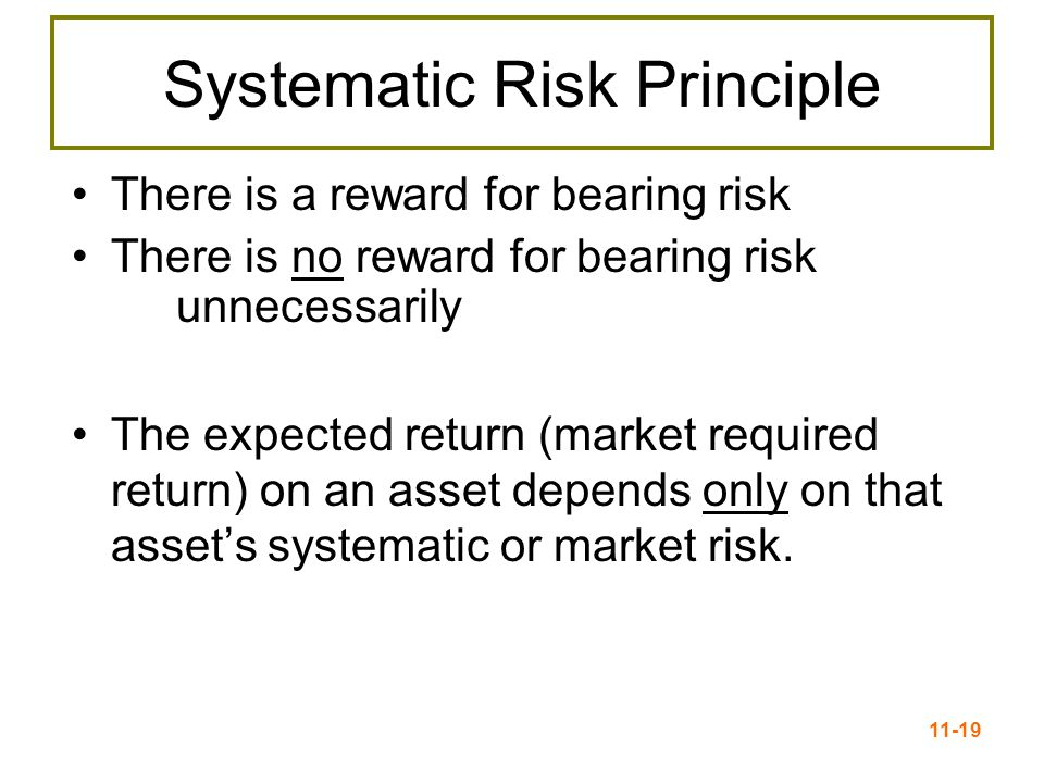 11-19 Systematic Risk Principle There is a reward for bearing risk There is no reward for bearing risk unnecessarily The expected return (market requi