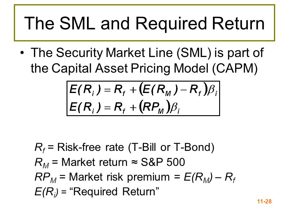 11-28 The SML and Required Return The Security Market Line (SML) is part of the Capital Asset Pricing Model (CAPM) R f = Risk-free rate (T-Bill or T-B