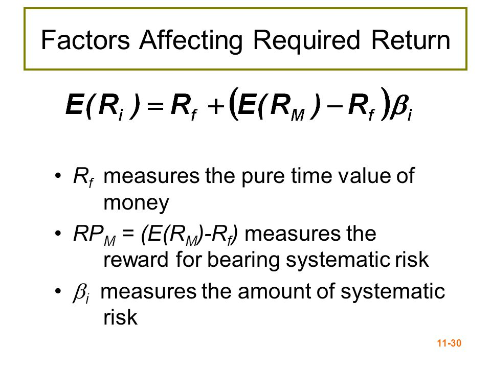 11-30 Factors Affecting Required Return R f measures the pure time value of money RP M = (E(R M )-R f ) measures the reward for bearing systematic ris