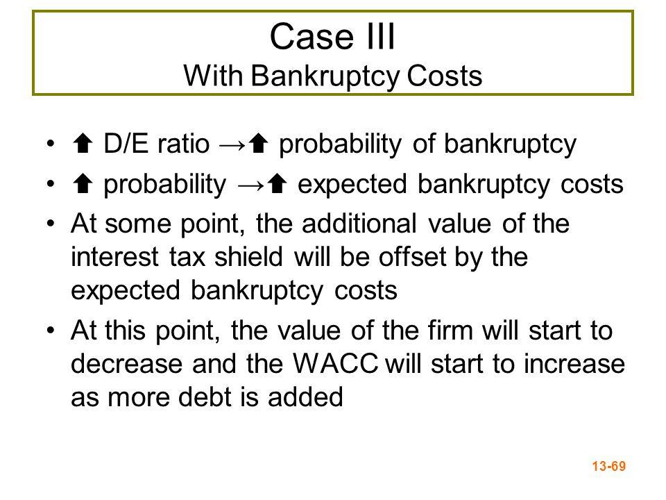 13-69 Case III With Bankruptcy Costs  D/E ratio →  probability of bankruptcy  probability →  expected bankruptcy costs At some point, the addition
