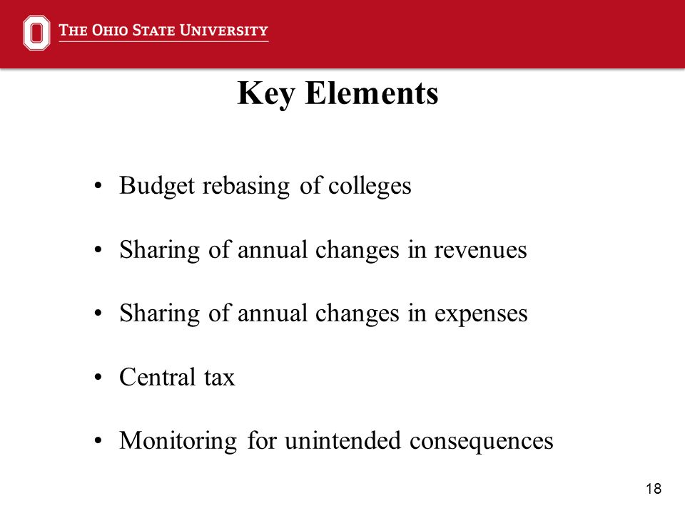 18 Key Elements Budget rebasing of colleges Sharing of annual changes in revenues Sharing of annual changes in expenses Central tax Monitoring for unintended consequences