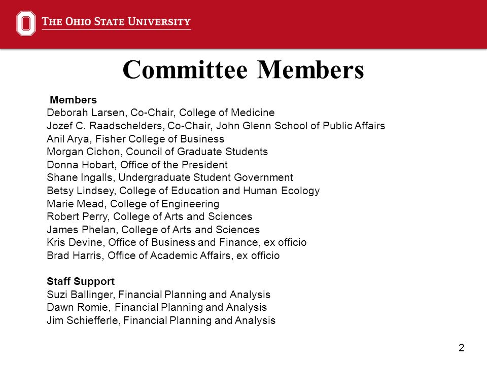 2 Committee Members Members Deborah Larsen, Co-Chair, College of Medicine Jozef C.