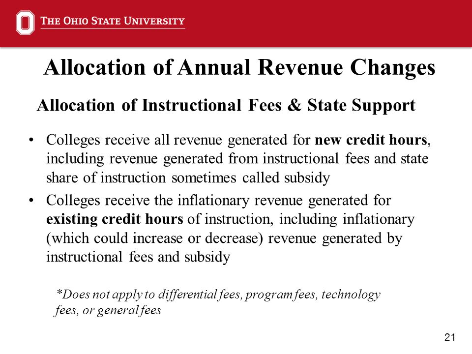 21 Allocation of Annual Revenue Changes Allocation of Instructional Fees & State Support Colleges receive all revenue generated for new credit hours, including revenue generated from instructional fees and state share of instruction sometimes called subsidy Colleges receive the inflationary revenue generated for existing credit hours of instruction, including inflationary (which could increase or decrease) revenue generated by instructional fees and subsidy *Does not apply to differential fees, program fees, technology fees, or general fees