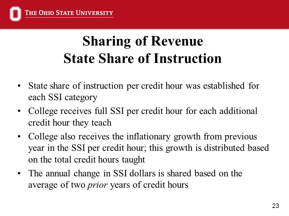 23 Sharing of Revenue State Share of Instruction State share of instruction per credit hour was established for each SSI category College receives full SSI per credit hour for each additional credit hour they teach College also receives the inflationary growth from previous year in the SSI per credit hour; this growth is distributed based on the total credit hours taught The annual change in SSI dollars is shared based on the average of two prior years of credit hours