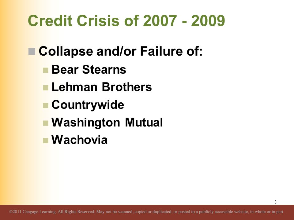 Credit Crisis of 2007 - 2009 Government Response Fannie Mae and Freddie Mac placed into conservatorship Loaned AIG over $150 billion Insured money market mutual funds Created Commercial Paper Funding Facility Increased FDIC coverage to $250,000 Temporarily through 2009 4