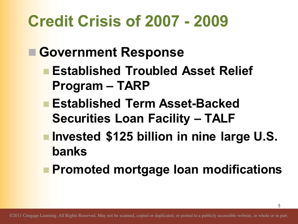 Credit Crisis of 2007 - 2009 Impact on Banks and the Banking Environment Biggest impact of declining real estate values concentrated in the areas that experienced the largest run-up in real estate values Many large banks experienced large losses while many small banks did not 6