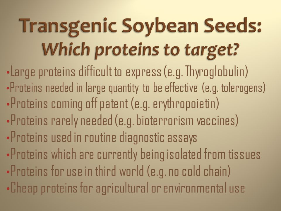 Splice genes into soybean host DNA Regenerate transgenic soybean plants which express proteins Synthesize genes to express proteins Harvest transgenic seeds containing proteins Formulate seeds into therapies or purify the protein Expressing Proteins in Transgenic Soybean Seeds SoyMeds patenting experiences !