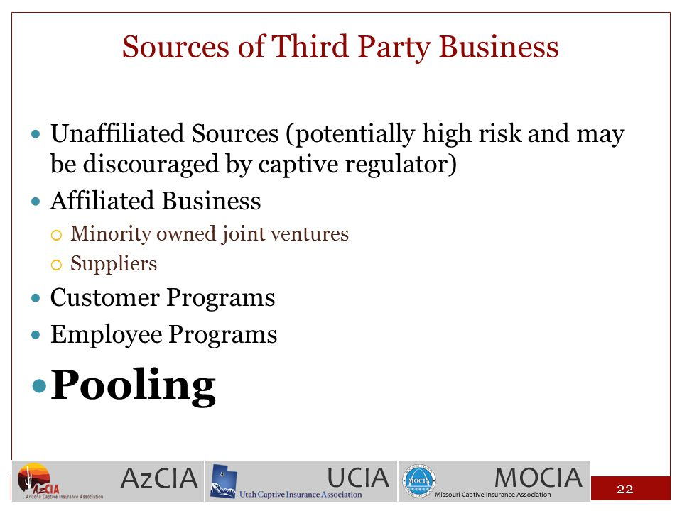 Sources of Third Party Business Unaffiliated Sources (potentially high risk and may be discouraged by captive regulator) Affiliated Business  Minorit